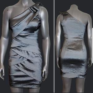 Betsy & Adam Metalic One Shoulder Dress